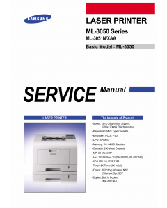 Samsung Laser-Printer ML-3050 3051N Parts and Service Manual