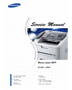 Samsung Mono-Laser-MFP SF-650 650P Parts and Service Manual