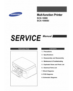 Samsung Multi-Function-Printer SCX-1000I 1000SI Parts and Service Manual