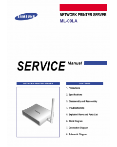 Samsung Network-Printer-Server ML-00LA Parts and Service Manual