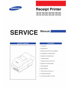 Samsung Receipt-Printer SRP-270 Parts and Service Manual