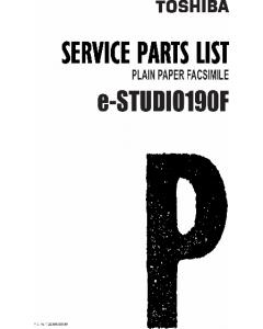 TOSHIBA e-STUDIO 190F Parts List Manual