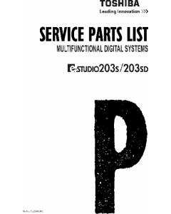 TOSHIBA e-STUDIO 203S 203SD Parts List Manual