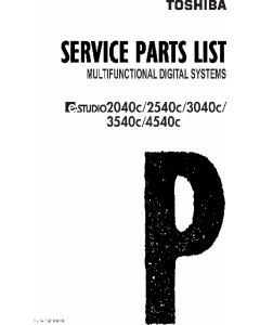 TOSHIBA e-STUDIO 2040c 2540c 3040c 3540c 4540c Parts List Manual