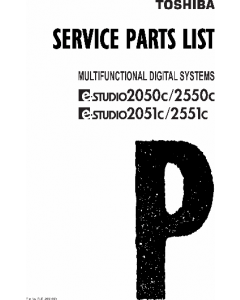 TOSHIBA e-STUDIO 2050c 2051c 2550c 2551c Parts List Manual