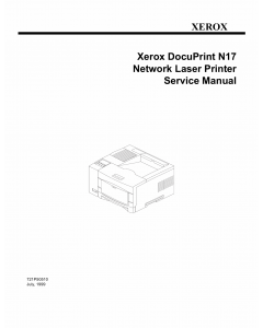 Xerox DocuPrint N17 Parts List and Service Manual