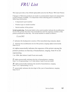 Xerox Phaser 780 Parts List Manual