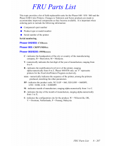 Xerox Phaser 840 Parts List Manual