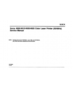 Xerox Printer 4900 4915 4920 4925 Parts List and Service Manual