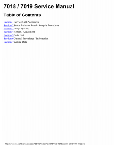 Xerox Printer 7018 7019 Fax Parts List and Service Manual