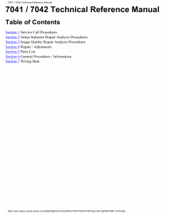 Xerox Printer 7041 7042 Fax-Scanner Parts List and Service Manual