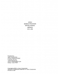 Xerox Printer PROCESSOR 820 820II Maintenance Service Manual