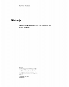 Xerox Tektronix-Phaser-200 220 240 Parts List and Service Manual