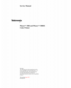 Xerox Tektronix-Phaser-300i 300RX Parts List and Service Manual