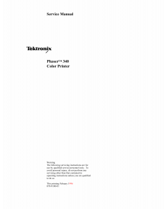 Xerox Tektronix-Phaser-340 Parts List and Service Manual