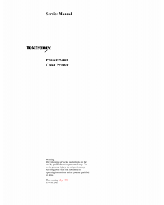 Xerox Tektronix-Phaser-440 Parts List and Service Manual