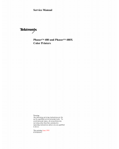 Xerox Tektronix-Phaser-480 480X Parts List and Service Manual