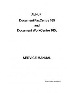 Xerox WorkCentre DWC-165c Parts List and Service Manual