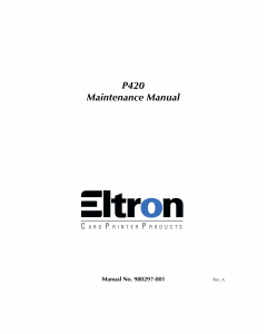 Zebra Eltron P420 Maintenance Service Manual