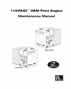 Zebra Label 110PAX3 Maintenance Service Manual