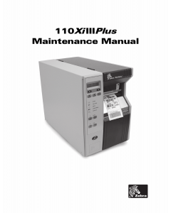 Zebra Label 110XiIII Plus Maintenance Service Manual