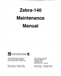 Zebra Label 140 Maintenance Service Manual