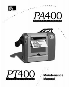 Zebra Label PA400 PT400F Maintenance Service Manual