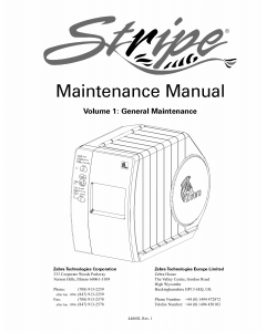 Zebra Label S300 S500 Maintenance Service Manual