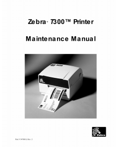 Zebra Label T300 Maintenance Service Manual