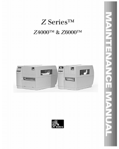Zebra Label Z4000 Z6000 Maintenance Service Manual