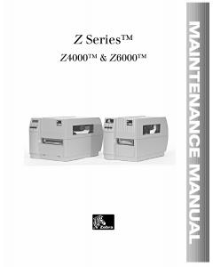 Zebra Label Z4000 Z6000 Maintenance Service Manual