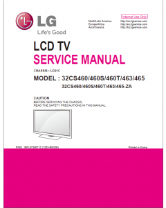 LG LCD TV 32CS460 32CS460S 32CS460T 32CS463 32CS465 Service Manual