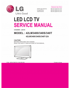 LG LCD TV 42LM3400 42LM340S 42LM340T Service Manual