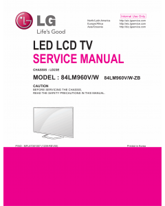 LG LCD TV 84LM960V 84LM960W Service Manual