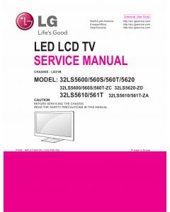 LG LED TV 32LS5600 32LS560S 32LS560T 32LS5620 32LS5610 32LS561T Service Manual