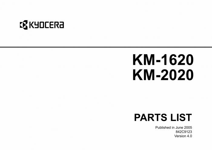 KYOCERA Copier KM-1620 2020 Parts Manual