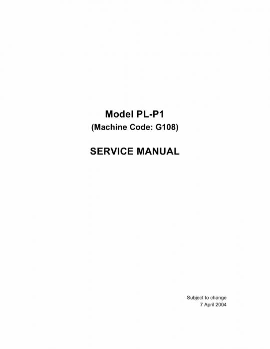 RICOH Aficio CL-1000 G108 Parts Service Manual