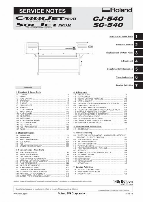 Roland CAMMJET CJ 540 Service Notes Manual