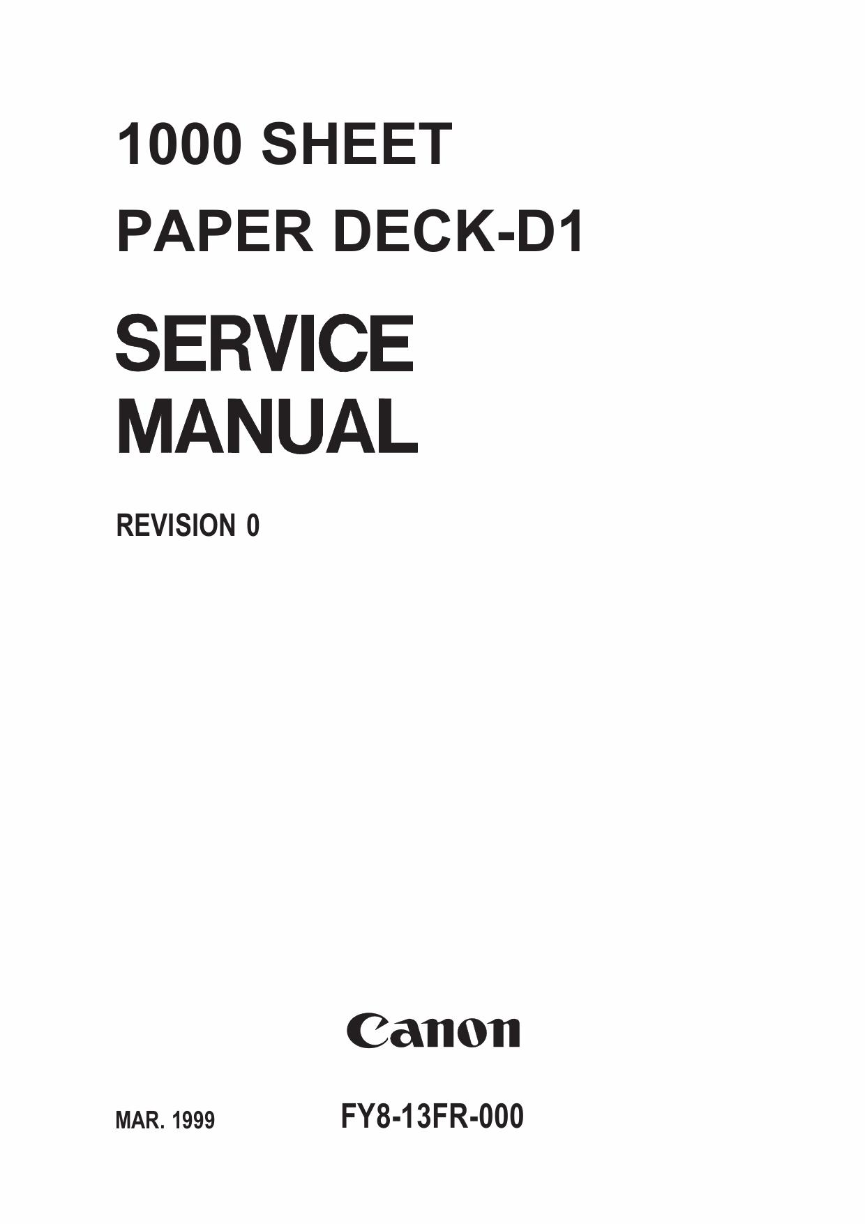 canon options sheet1000 paper deck d1 parts and service manual. Black Bedroom Furniture Sets. Home Design Ideas