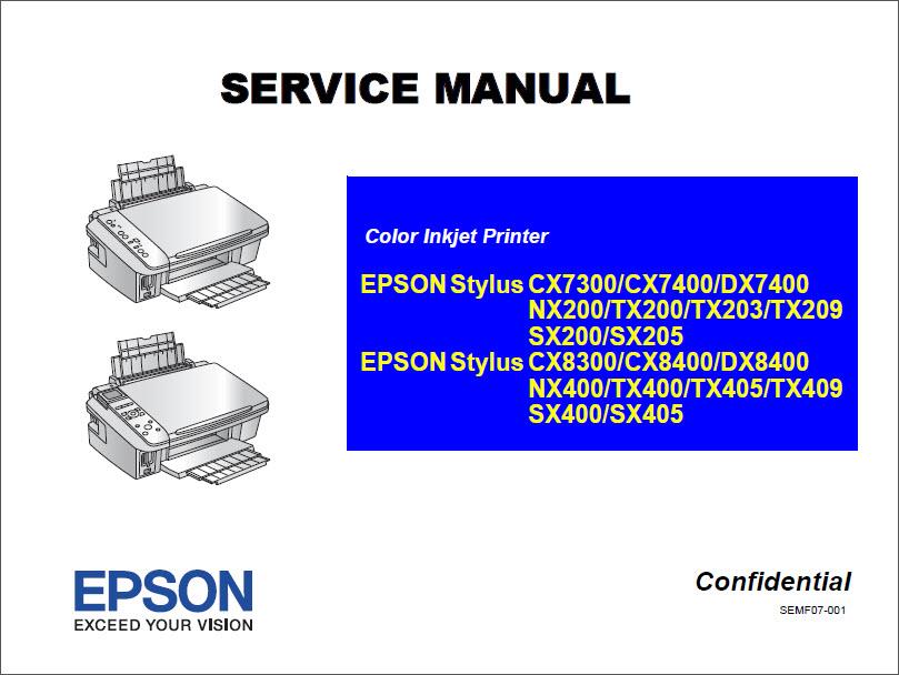 epson stylus cx7300 cx8300 cx8400 tx200 tx400 service manual