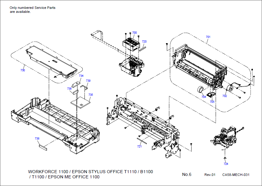 Epson Stylus Office T1110 B1100 T1100 1100 Parts Manual-4
