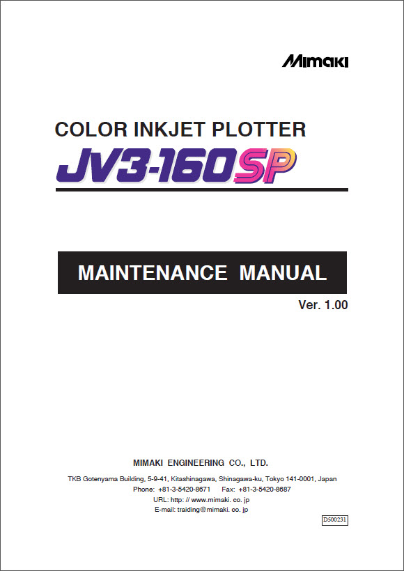 MIMAKI_JV3_160SP_Maintenence_Manual_D500231_2004_v1-1