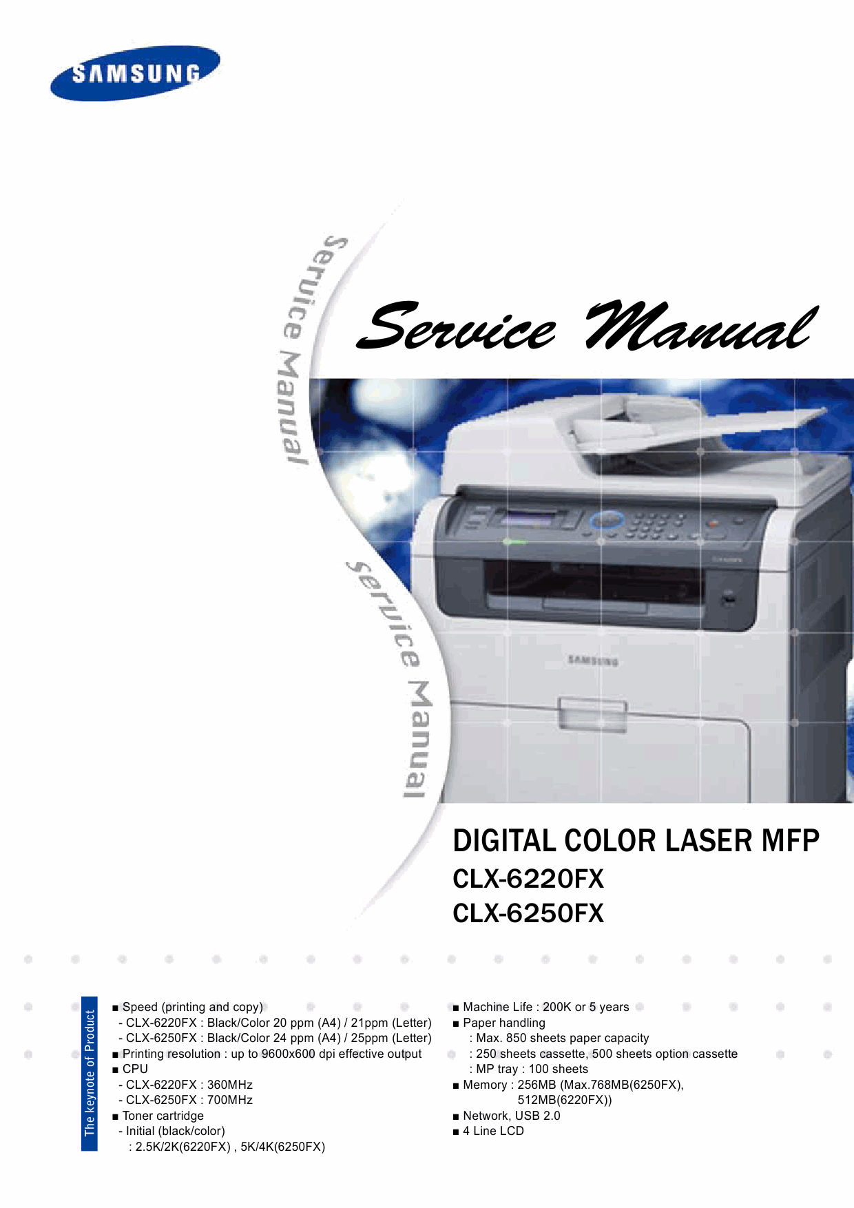 samsung digital color laser mfp clx 6220fx 6250fx parts and service manual. Black Bedroom Furniture Sets. Home Design Ideas