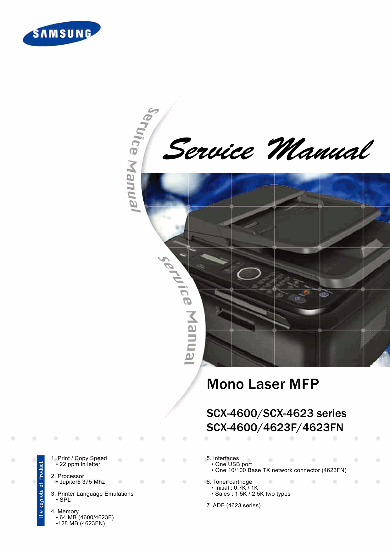 samsung mono laser mfp scx 4600 4623 4623f 4623fn parts and service manual. Black Bedroom Furniture Sets. Home Design Ideas