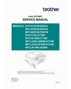 Brother Inkjet-MFC 255 295 495 795 CW-CN DCP375CW 395CN Service Manual