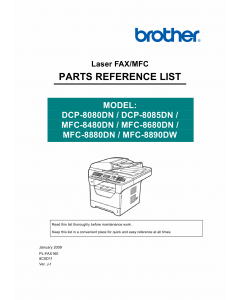 Brother Laser-MFC 8480 8680 8880 8890 DN-DW DCP8080DB 8085DN Parts Reference