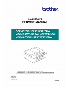 Brother Laser-MFC J280 J425 J430 J435 J625 J825 J835 W-DW DCPJ525 J725 J925 W-DW Service Manual