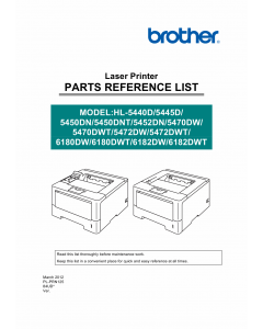 Brother Laser Printer HL-5440 5445 5450 5452 5470 5472 6180 6182 Parts Reference