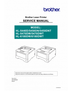 Brother Laser Printer HL-5440 5450 5470 6180 Service Manual