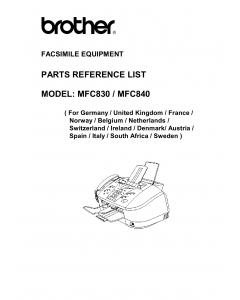 Brother MFC 830 840 Parts Reference